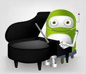 Carácter de dibujos animados lindo Robot aislado en fondo gris degradado. Pianista. Vector EPS 10.