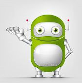Cartoon Character Cute Robot Isolated on Grey Gradient Background. Empty hand. Vector EPS 10.