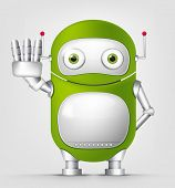Cartoon Character Cute Robot Isolated on Grey Gradient Background. Stop. Vector EPS 10.