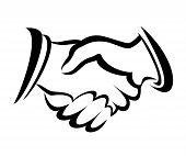 picture of prosperity sign  - handshake symbol vector sketch in simple lines - JPG