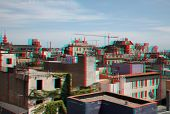 Barcelona streets photo (anaglyph effect. need stereo glasses to view in 3D)