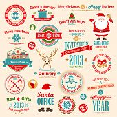 Christmas set - labels, emblems and other decorative elements. Vector illustration.