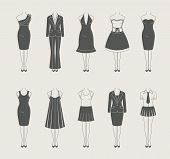 female clothes set icon vector illustration