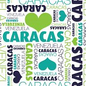 I love Caracas Venezuela seamless typography background pattern in vector