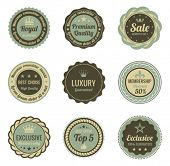 Vintage Labels set. Sale, Membership, Luxury style. Retro design. High quality. Retro logo template.