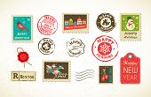 stock photo of ginger man  - Christmas collection with vintage postage stamps - JPG