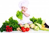 foto of vegetable soup  - Baby cook with fresh vegetables isolated on a white - JPG