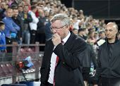 CLUJ-NAPOCA, ROMANIA - OCTOBER 2: Sir Alex Ferguson in UEFA Champions League match between CFR 1907