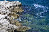 White rocks by Mediterranean sea