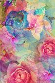 picture of blue rose  - Vintage romantic background with roses and hydrangeas - JPG