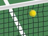 Tennis ball hit the net.