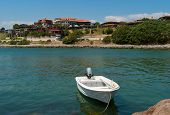 White Boat Near Old Nessebar Shoe