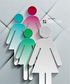 Vektor 3d Papier Frau modernes design