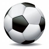 Bola de futebol realista sobre fundo branco