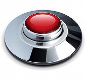 Red web button with chrome, metallic elements, vector illustration.