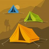 Tourist tent in different ways. Vector illustration on a hike in the mountains and outdoor recreatio