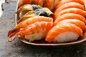 Assorted sushi with salmon, shrimp and eel - traditional Japanese food