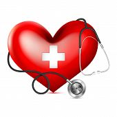 foto of heart sounds  - vector illustrationof stethoscope wrapping heart - JPG