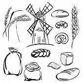 pic of threshing  - bread  icons sketch collection  cartoon vector  illustration - JPG