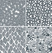 Four black and white seamless patterns.