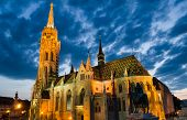 Matyas Or Matthias Church In Budapest, Twilight.