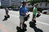 WASHINGTON, DC - JULY 29: Tourists operate Segways during a Segway tour along the National Mall on July 29, 2013 in Washington.