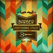 stock photo of barbershop  - Hairdressing background in retro style - JPG