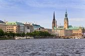 Alster Lake and Downtown of Hamburg