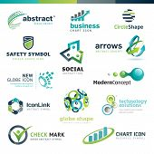 image of social-security  - Set modern designed abstract icons for business - JPG