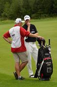 MOSCOW, RUSSIA - JULY 28: Michael Hoey of Northern Ireland and his caddie during final round of the