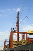 Carguero cargado con tablones de pino contra el cielo en Limassol de Chipre