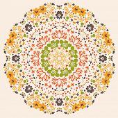 Elemento de design floral brilhante em vetor. Cartão de vetor conceito mandala. Trad de flor do verão projeto elemento