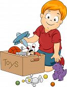 Illustration of Kid Boy Storing Toys