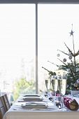 Christmas table with champagne flutes