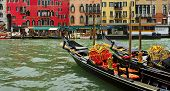 VENICE, ITALY - APRIL 12: Some gondolas in the Grand Canal on April 12, 2013 in Venice, Italy. This