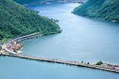 picture of salvatore  - Long road crossing lake Lugano at alpine mountain scenery - JPG