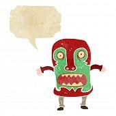 retro cartoon tribal mask man shouting