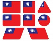 Buttons With Flag Of Taiwan