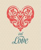 stock photo of cupid  - Valentines Day Card with heart - JPG