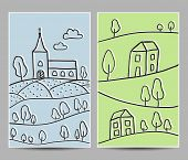 Church And Village Cards