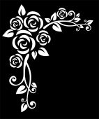 stock photo of white roses  - Stylized white floral border with rose on a black background - JPG
