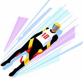 picture of luge  - Vectored Illustration of a Man on a Luge Sled - JPG