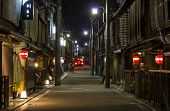 Narrow Street With Traditional Wooden Architecture In Gion District  In Kyoto, Japan.