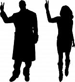 Vector silhouettes man and women a white