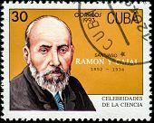 CUBA - CIRCA 1993: a postage stamp printed in Cuba showing an image of Santiago Ramon y Cajal, circa