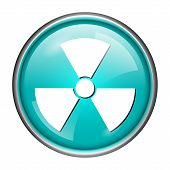 picture of radium  - Round glossy icon with white design on aqua background - JPG