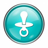 stock photo of nipple rings  - Round glossy icon with white design on aqua background - JPG