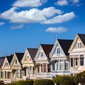 San Francisco Victorian houses in Alamo Square at California USA