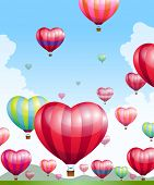 Heart shaped hot air balloons