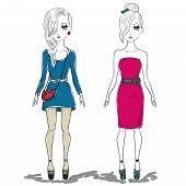 Hand Drawn Illustration of Fashion Girl